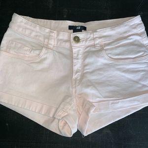 H&M mid-rise blush pink jean shorts